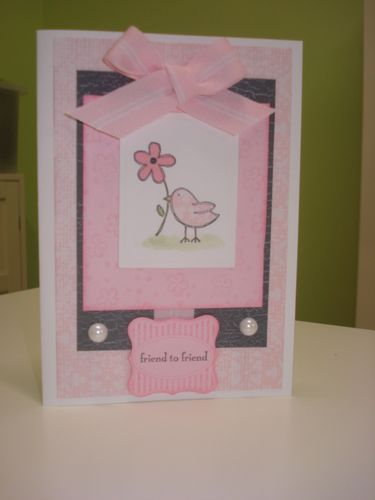 Pink gray bird card