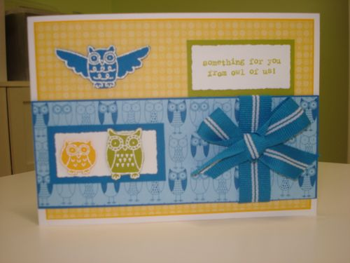 Blue,yellow owl card