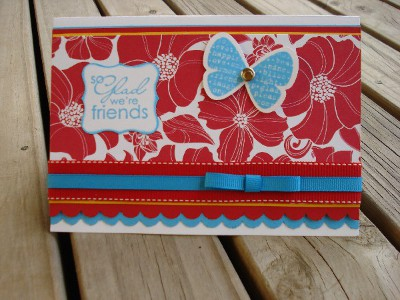 Red,turquoise,yellow friend card