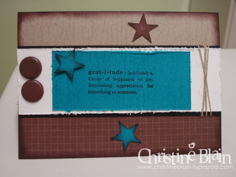 Brown, teal thanks card