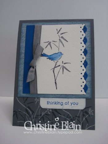 Asian artistry blue & grey card